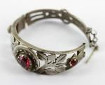 Silver ornate glass inset Bukhara Afghanistan Bracelet