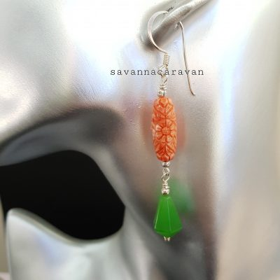 Faux Coral Agate Silver earrings