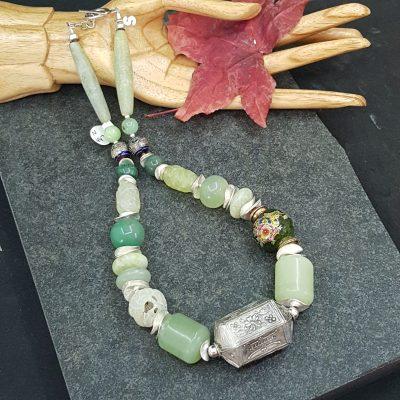 Jade Cloisonne Silver Necklace