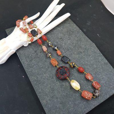 Coral Trade Bead Cinnabar Necklace