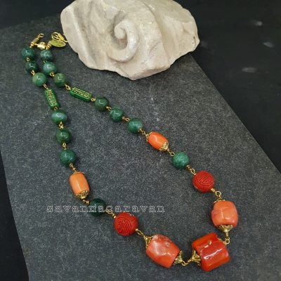 Coral Jade Cinnabar Necklace
