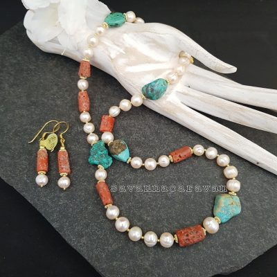 Coral Pearls Turquoise Necklace