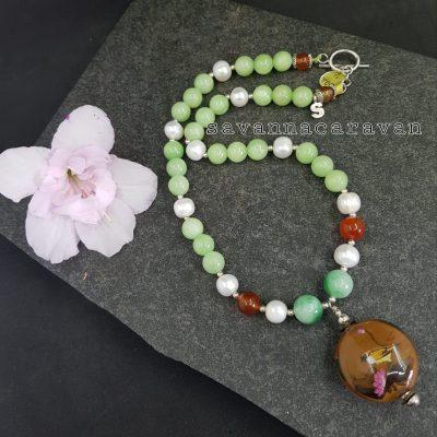 Jade Carnelian Pearl Pendant Necklace