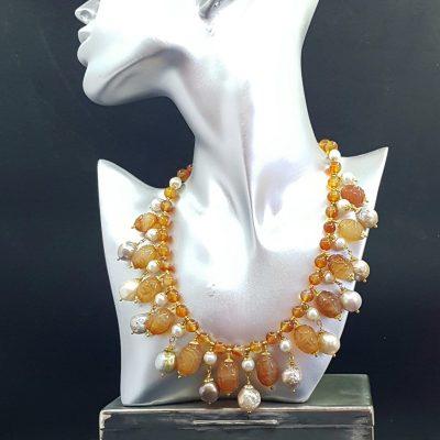 Carnelian Pearls Bib Necklace