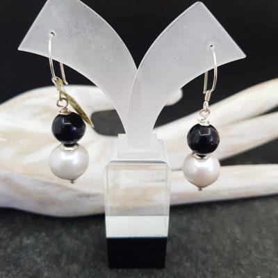 Onyx Baroque Pearl Earrings Silver