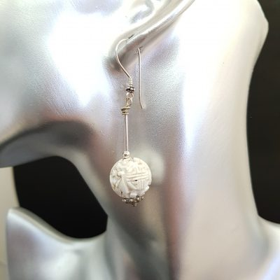 Carvel coral silver earring