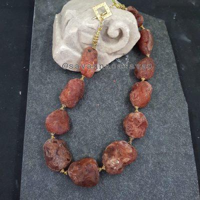 Carnelian Chunks Gold Necklace
