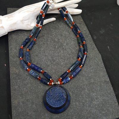 Lapis Carnelian Pendant Necklace