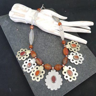 Turkmen Carnelian Silver Pendant Necklace