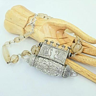 Indian Peacock Crystal Quartz Necklace