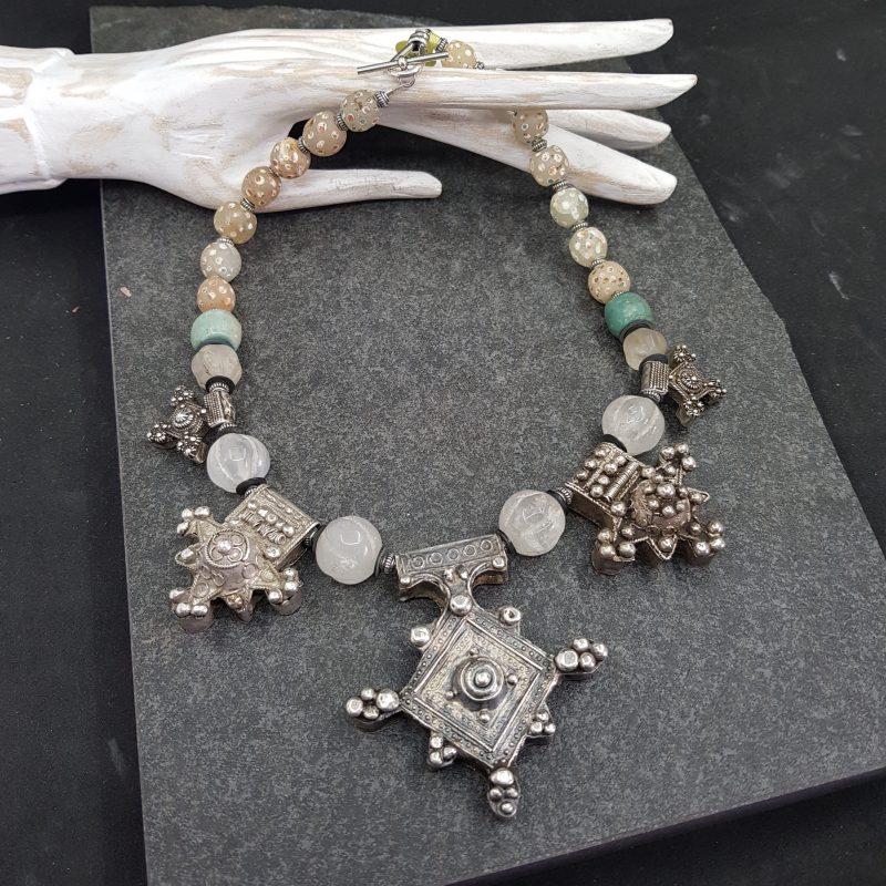 Morocco Silver Cross Necklace