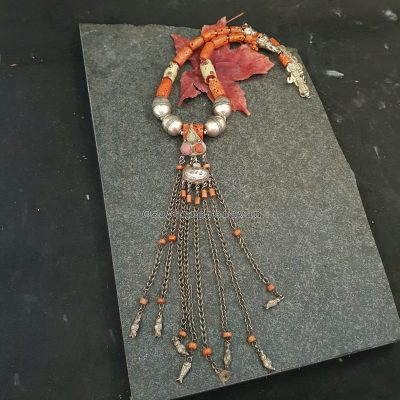 Venetian Trade Beads coral Silver Necklace