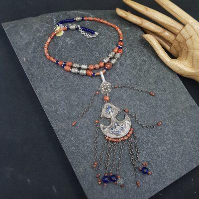 Coral Uzbek Silver Necklace