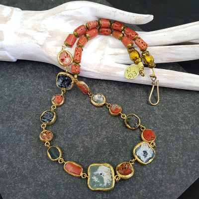 Roman Glass and Coral necklace