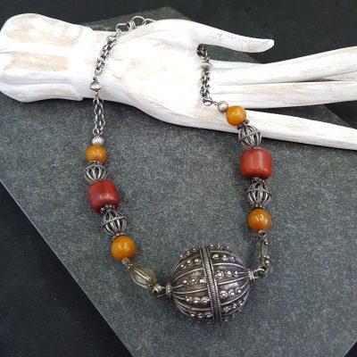 Yemen silver resin amber necklace