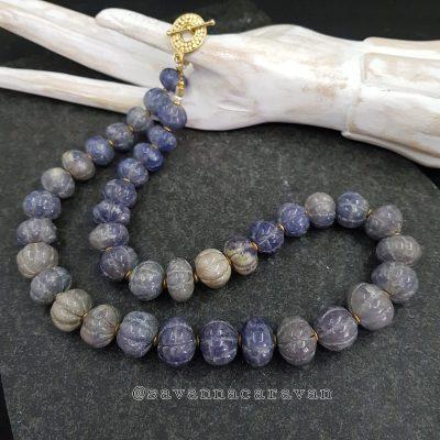 Denim Melon Gemstone Necklace